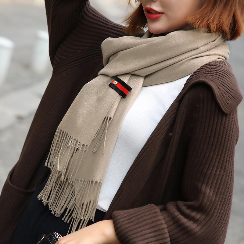 冬季韩版纯色仿羊绒围巾披肩两用 券后14.9元包邮