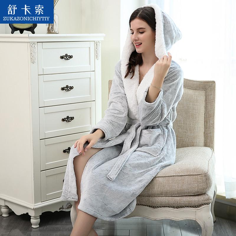 舒卡索 法兰绒睡袍 39.88元包邮