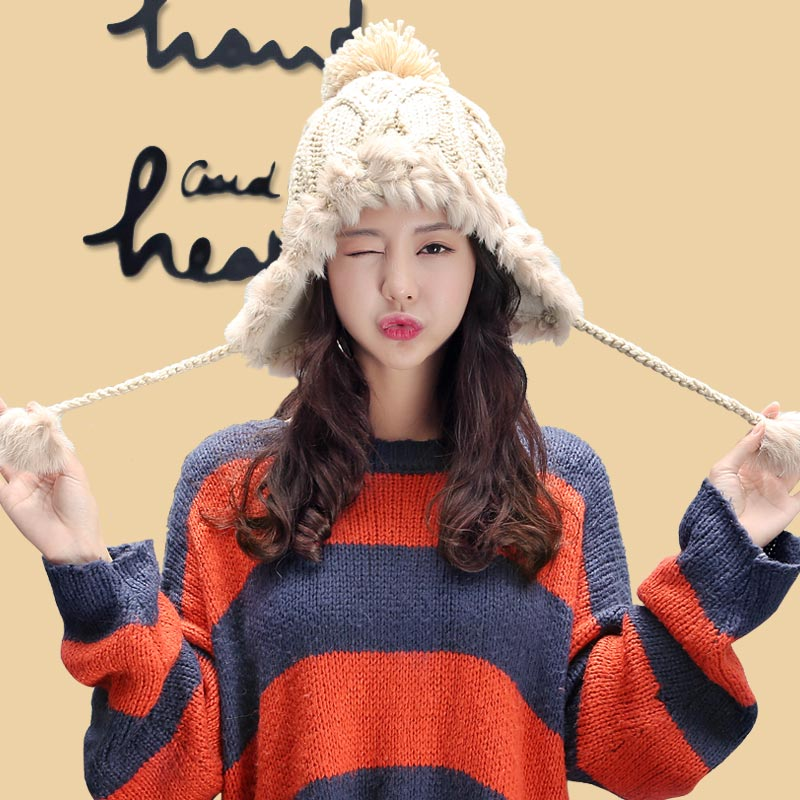 【尧典】韩版加绒针织护耳帽