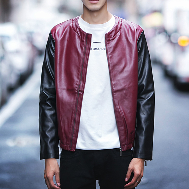 秋季修身韓版機車服青年棒球茄克衫皮夾克
