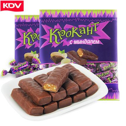 俄罗斯进口 巧克力坚果紫皮糖 100g 5.9元包邮