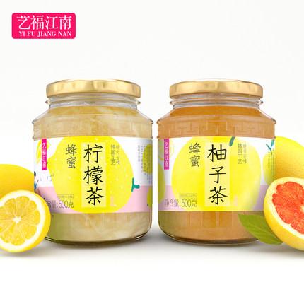艺福江南 蜂蜜柚子茶+柠檬茶组合 500g*2罐 12.9元包邮