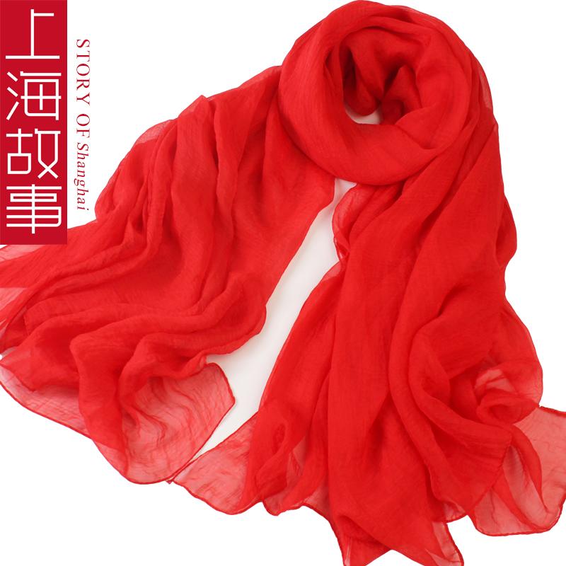 上海故事 雪纺纱巾180*145大尺寸,券后9.9元包邮