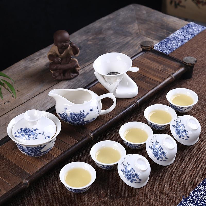 景德镇 青花瓷茶具组合 10件套 19.8元包邮