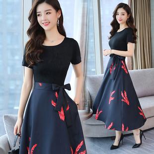 韩版高腰长款气质印花连衣裙