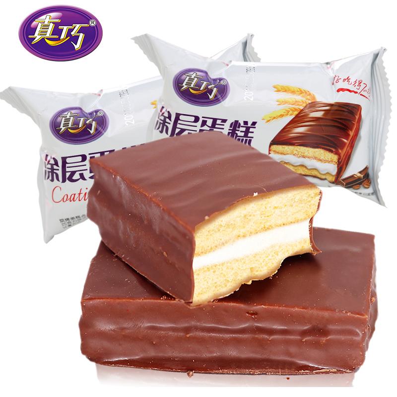 真巧 巧克力涂层夹心蛋糕 1kg 24.9元包邮