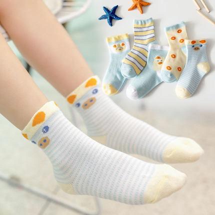 妙优童 儿童 春秋薄款棉袜 5双 6.9元包邮(多款可选)