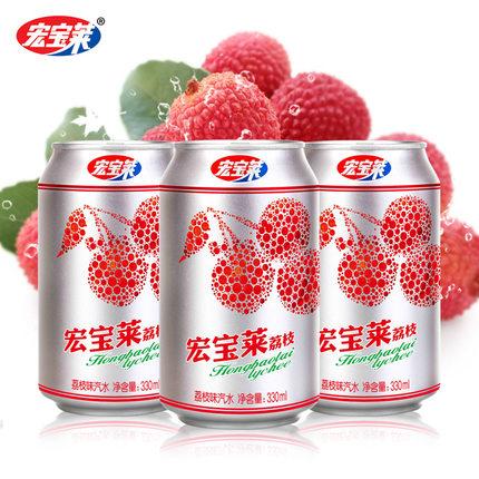宏宝莱 荔枝味碳酸汽水 330ml*12罐装 19.9元包邮