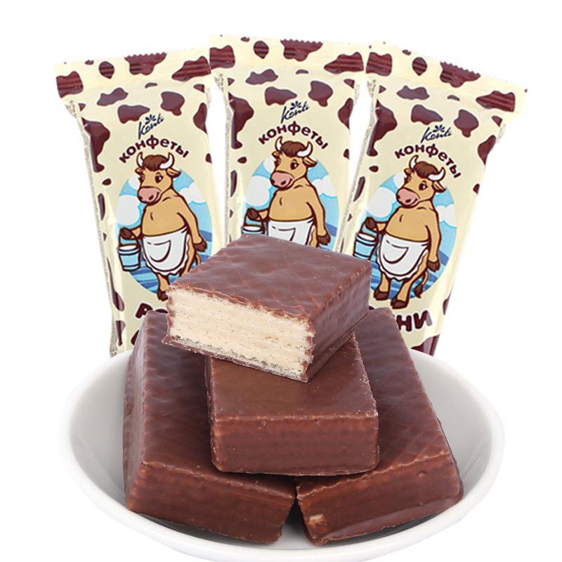 俄罗斯进口康吉巧克力夹心威化饼干500g*2,拍2件券后19.9元包邮