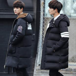 韩版连帽加厚中长款棉服